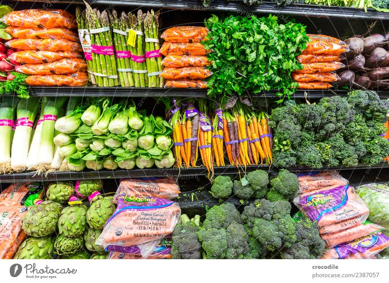 # 743 Supermarket Vegetable Asparagus Carrot Fennel Leek Organic produce Organic farming Broccoli Cold Trade Shopping Food Healthy Eating Colour photo Dish