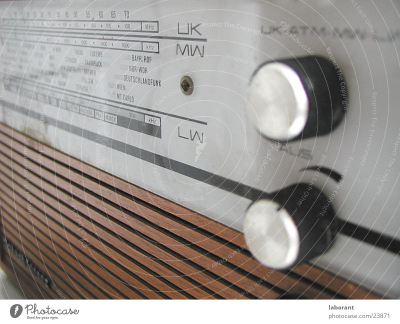 Music Wood Leisure and hobbies Radio (broadcasting) Buttons Sixties Scale Volume Broacaster