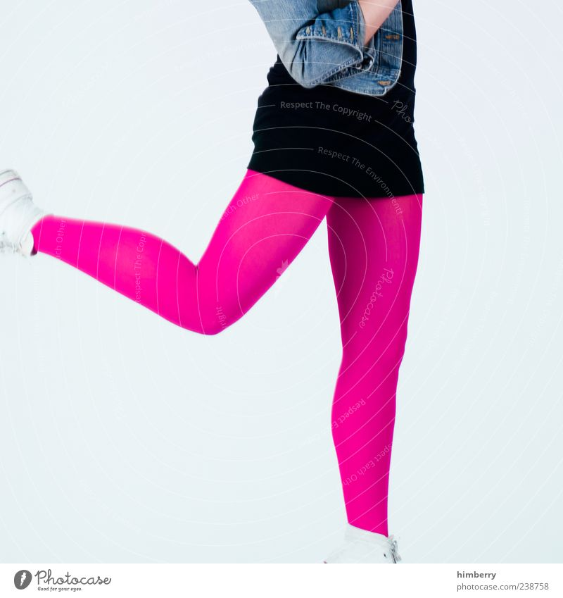 Human being Woman Youth (Young adults) Beautiful Joy Adults Feminine Life Jump Style Legs Fashion Pink Arm Young woman 18 - 30 years