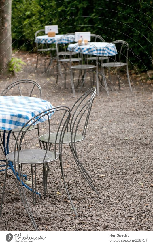 early season Restaurant Summer Blue Gray Garden restaurant Café Empty Table Chair Checkered Appealing Gravel Colour photo Exterior shot Copy Space right