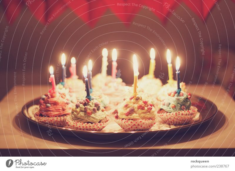 birthday Birthday Decoration Candle Illuminate Kitsch Blue Multicoloured Yellow Green Violet Pink Red Warm-heartedness Birthday cake Muffin Colour photo