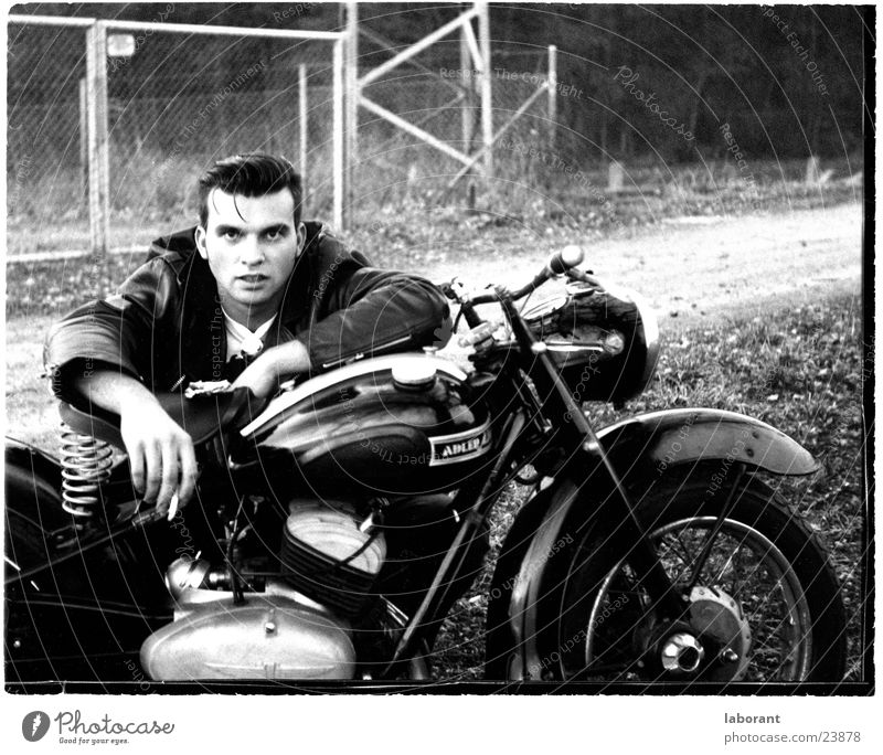 young heroes Posture Scooter Motorcycle Sixties Man Hero Black & white photo