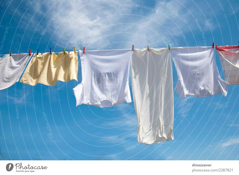Laundry drying on the rope Sky Blue Summer Colour White Sun Red Bright Line Fresh Wind Energy Clothing Rope Clean T-shirt
