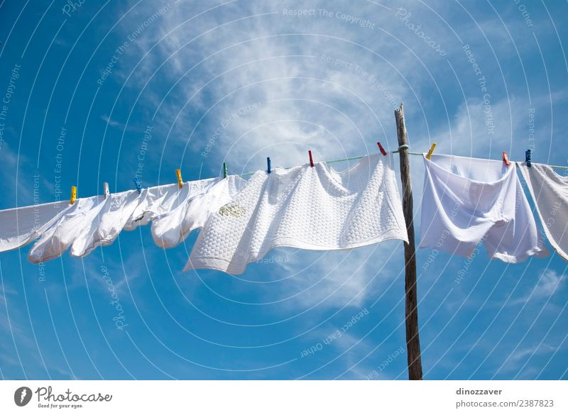 White laundry drying Sky Blue Summer Colour Sun Red Bright Line Fresh Wind Energy Clothing Rope Clean T-shirt