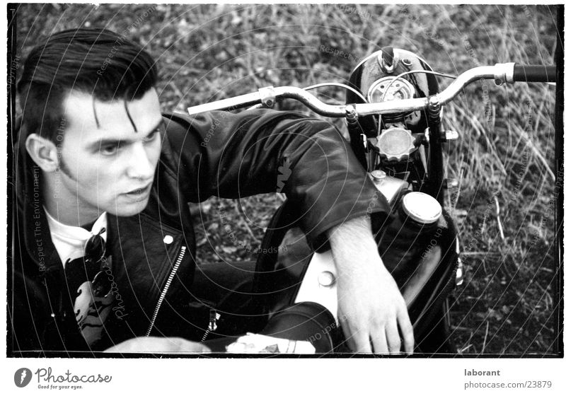 even more young heroes Scooter Posture Motorcycle The fifties Leather jacket Man Hero Black & white photo
