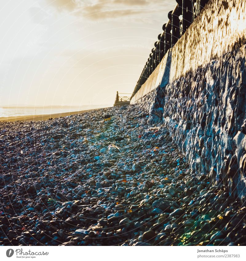 Sky Sun Beach Environment Cold Coast Wall (barrier) Stairs Weather Esthetic Perspective Beautiful weather Handrail Border England Evening sun