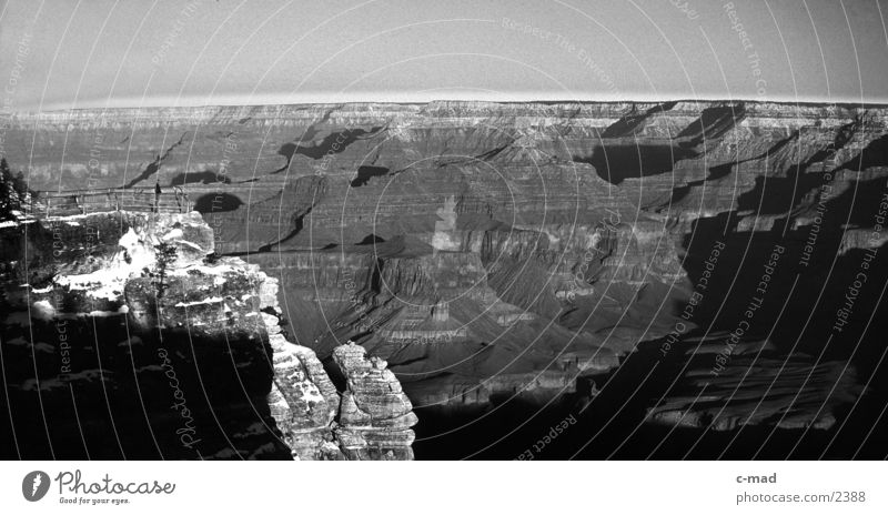 Grand Canyon Arizona Winter Moody USA Black & white photo Landscape Earth Destination Tourist Attraction Geology Famousness Natural phenomenon National Park