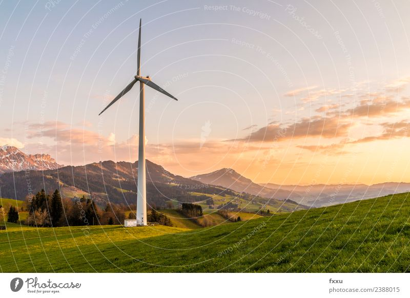 Wind energy Wind turbine in the mountains Wind energy plant Eco-friendly Energy Energy industry Environment Environmental damage Environmental pollution