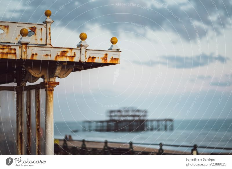 West Pier on the sea, Brighton, England, South Coast Environment Beach Island Town Port City Manmade structures Building Architecture Tourist Attraction