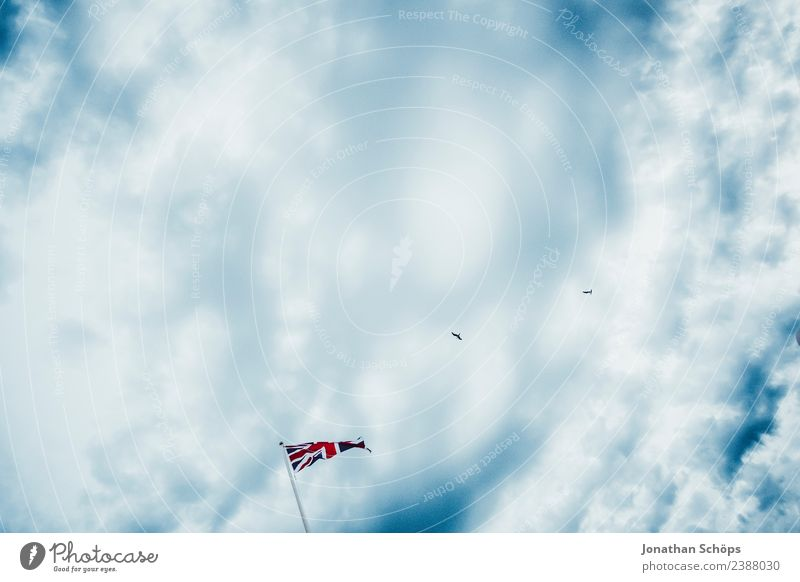 Flag Great Britain before cloudy sky Sky Clouds Sign Esthetic Brighton Blue Blue sky Red England brexite Blow Ensign Nationalities and ethnicity Argument Europe
