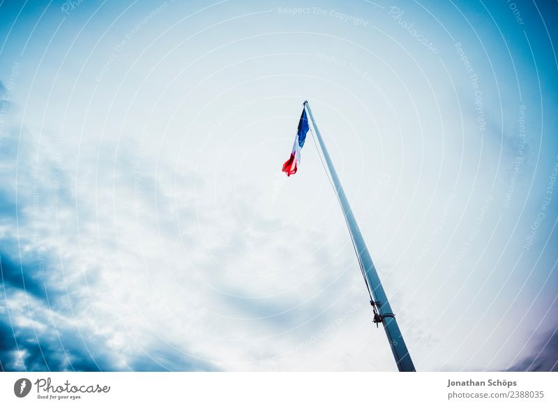 the waving flag of France against a blue sky Sky Wind Flag Blue Blow Pole Flagpole Patriotism Nationalities and ethnicity Civic pride Vignetting Upward