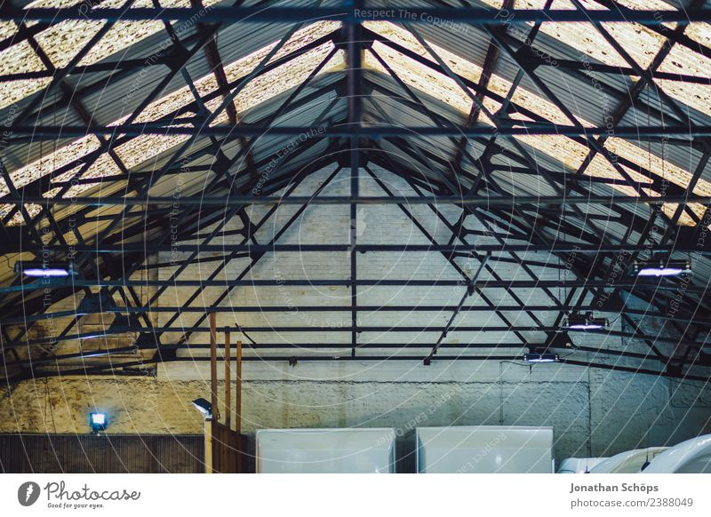 Industrial hall roof from below Brighton, England Town Building Roof Retro Glass Glass roof Background picture Structures and shapes Lamp Hall Warehouse Ceiling