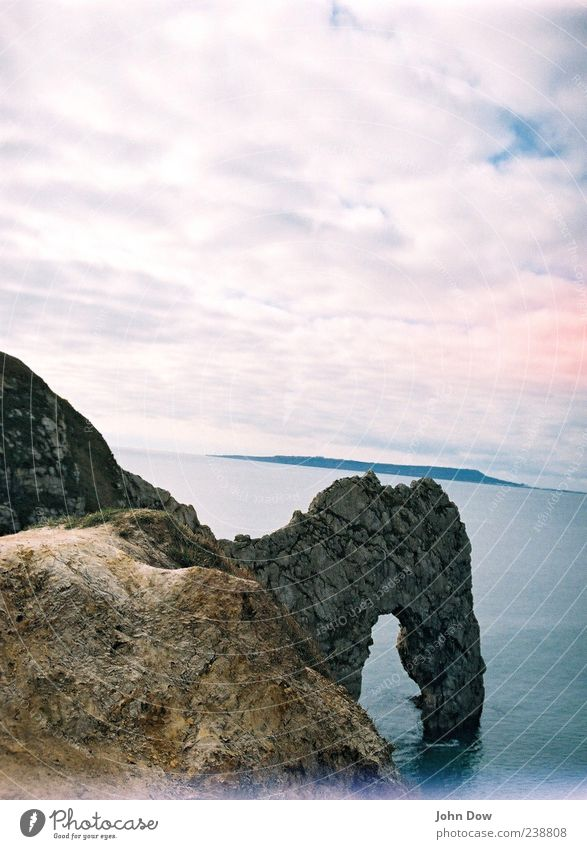 Ocean Clouds Far-off places Landscape Coast Freedom Rock Exceptional Beautiful weather Hill Vantage point Bay Analog England Arch Rock arch