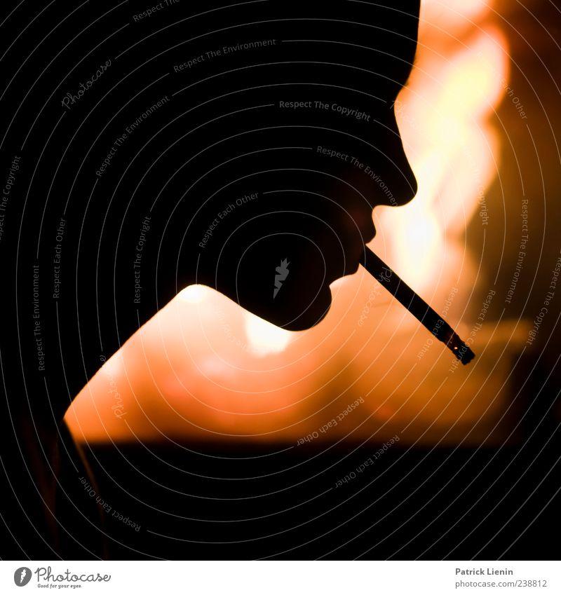 Light my fire Elegant Smoking Senses Fireside Human being Head Esthetic Hot Bright Moody Power Bizarre Creativity Surrealism Voodoo Cigarette Colour photo