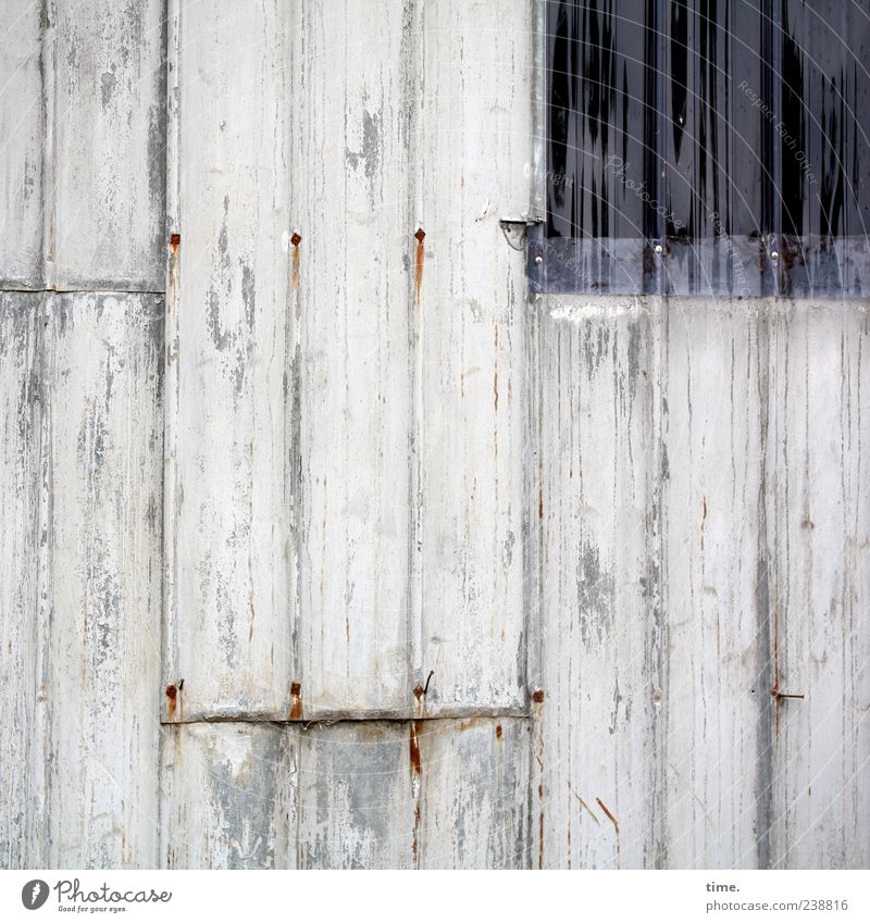 Stable wall with light hatch Window Plastic Old Esthetic Tin Wall (building) Decompose overlap patchwork Vertical Parallel Multicoloured Exterior shot Colour