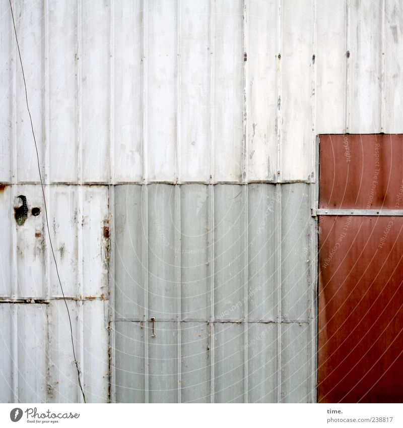 Stable wall with cable and red door Cable Door Plastic Old Esthetic Red Tin Wall (building) Decompose overlap patchwork Vertical Parallel Hinge Multicoloured