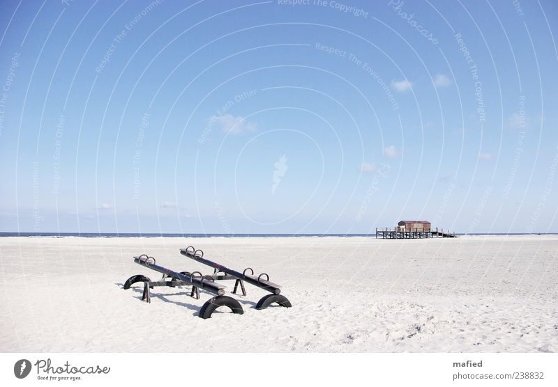 Sunday morning in the amusement park Summer Beach Ocean Landscape Sand Air Water Sky Beautiful weather Coast North Sea St. Peter-Ording Blue Brown Gray White