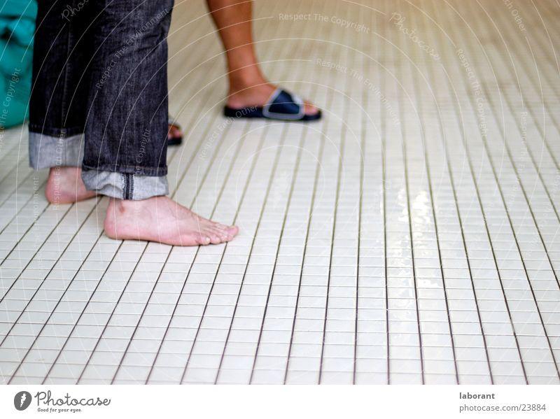 Feet Legs Jeans Swimming pool Tile Toes