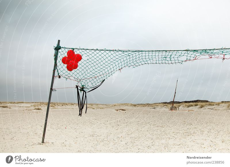 Sky Nature Vacation & Travel Red Summer Ocean Beach Clouds Landscape Broken Balloon Net North Sea Spiekeroog Rip Torn