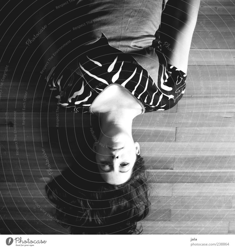 and my world is upside down Human being Feminine Woman Adults Head Hair and hairstyles 1 30 - 45 years Lie Black & white photo Interior shot Day Light Shadow