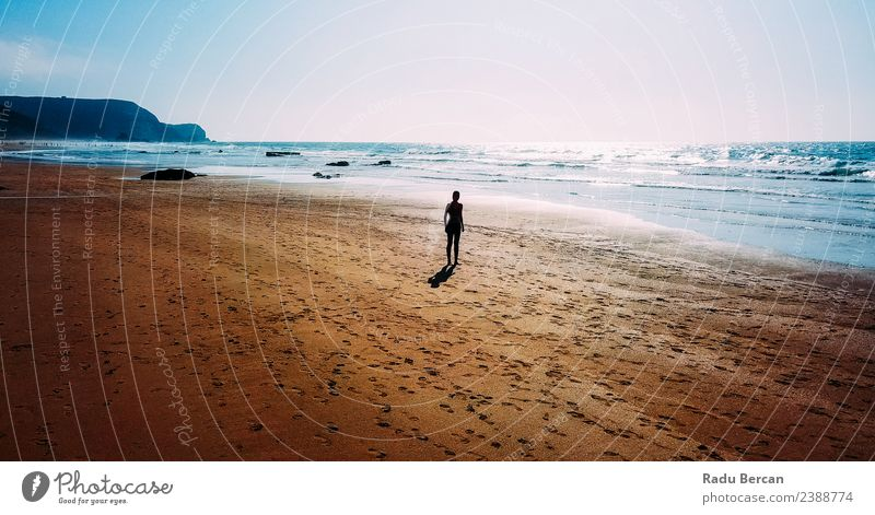 Aerial View Of Sportive Woman Running On Beach Healthy Athletic Fitness Summer Sun Ocean Sports Sports Training Track and Field Jogging Human being Feminine