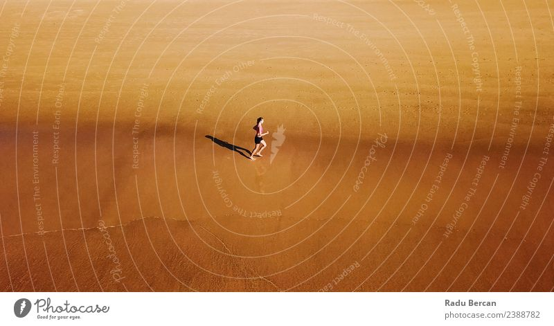 Aerial View Of Sportive Woman Running On Beach Summer Sun Ocean Sports Fitness Sports Training Track and Field Jogging Human being Feminine Young woman