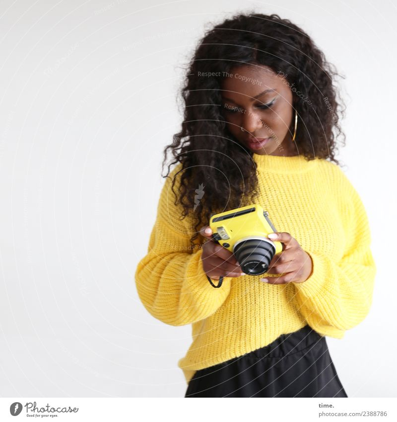 Apolline Feminine Woman Adults 1 Human being Skirt Sweater Earring Brunette Long-haired Curl Camera Observe To hold on Looking Beautiful Yellow Willpower