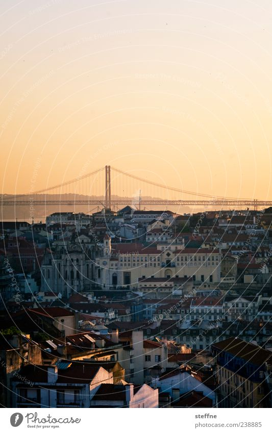 City House (Residential Structure) Church Bridge Romance Kitsch Skyline Landmark Tourist Attraction Capital city Portugal Old town Lisbon Sunset