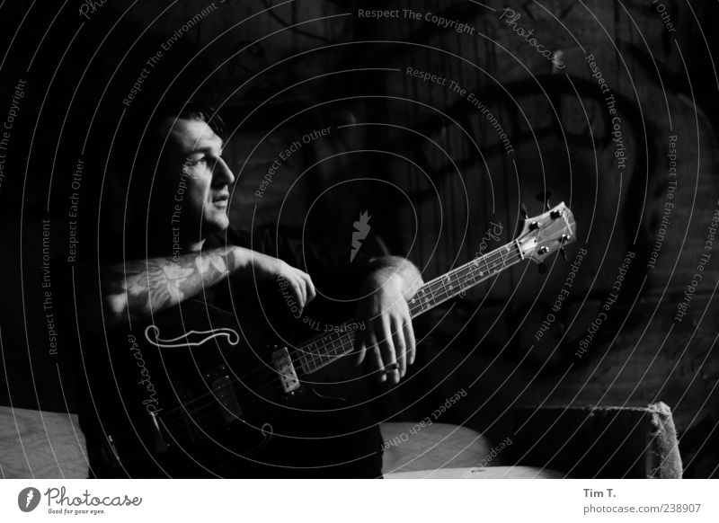 Guitar man Human being Man Adults Head 1 30 - 45 years Rockabilly Music Singer Dream Black & white photo