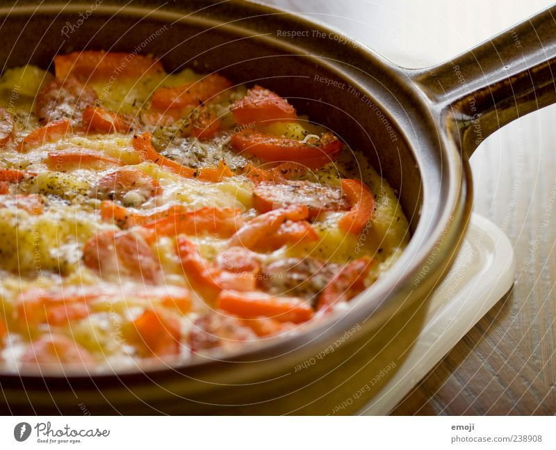 casserole Nutrition Lunch Vegetarian diet Pan Delicious Baked dish Oven dish Gratin Polenta Tomato Colour photo Interior shot Dinner Frying