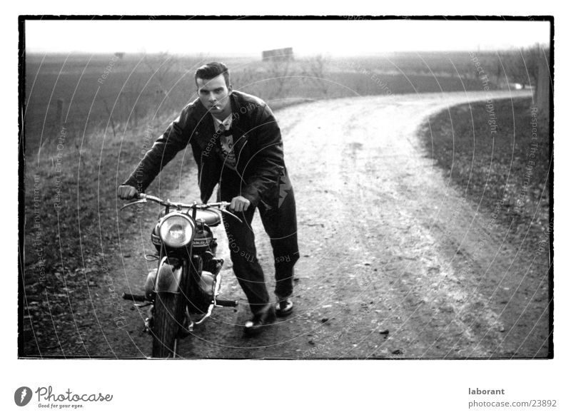 Man Landscape Motorcycle Scooter The fifties Leather jacket