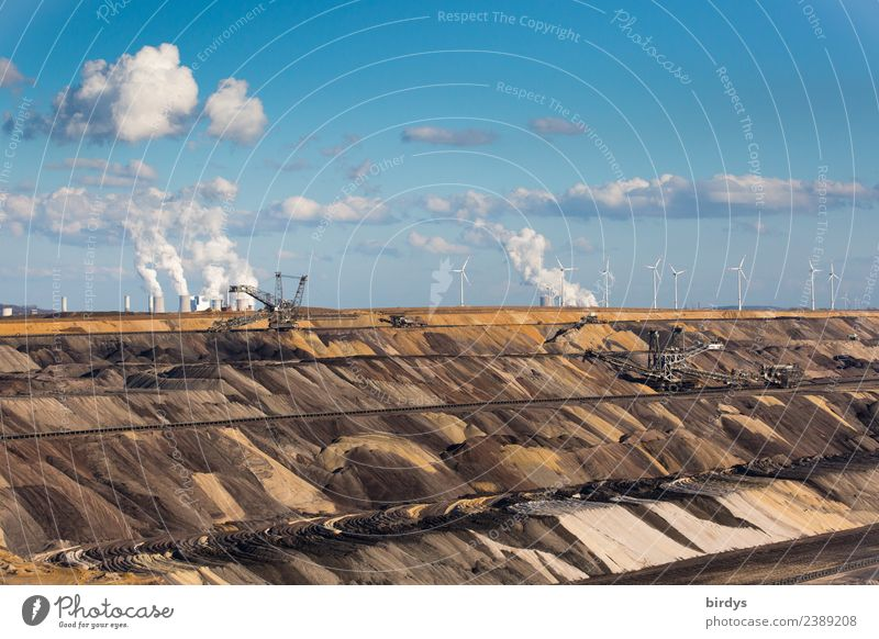 Garzweiler 2 opencast mine Workplace co2 Energy industry Mining Soft coal mining Renewable energy Wind energy plant Coal power station Sky Clouds
