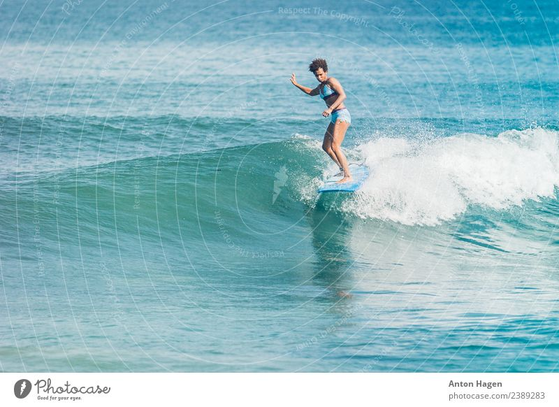 Let the world wait while you ride Feminine 1 Human being 18 - 30 years Youth (Young adults) Adults Vacation & Travel Performance Longboard Surfer Surfing Blue