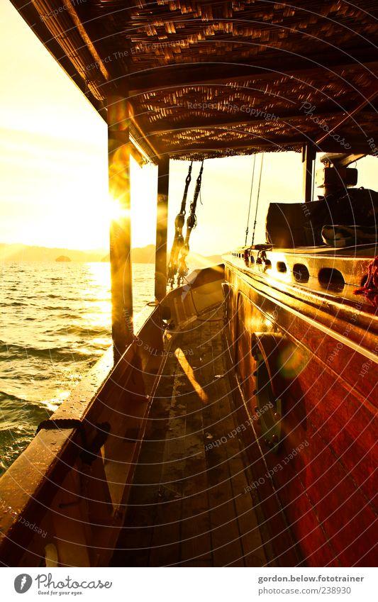 Vacation & Travel Sun Summer Ocean Far-off places Yellow Freedom Dream Waves Gold Romance Navigation Summer vacation Dusk Wanderlust Sail