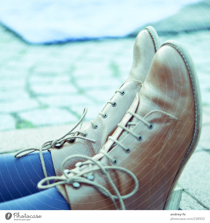 Shoes Stockings Cloth Leather Footwear Boots Blue Brown Shoe sole Laced boot Shoelace Pair of shoes Feet Chic Leather shoes 2 Fashion Comfortable Colour photo