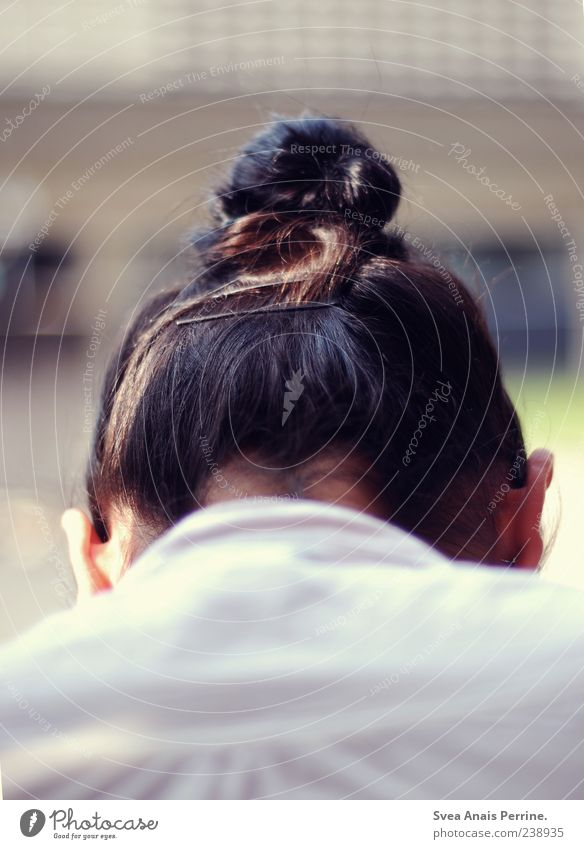 Human being Feminine Head Hair and hairstyles Sadness Young woman Grief Ear Brunette Concern Braids Black-haired Nape Chignon Dark-haired Back of the head