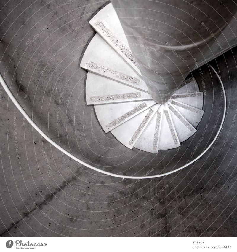 curl Architecture Stairs Staircase (Hallway) Banister Rotate Round Gloomy Black & white photo Interior shot Deserted Bird's-eye view Winding staircase Concrete