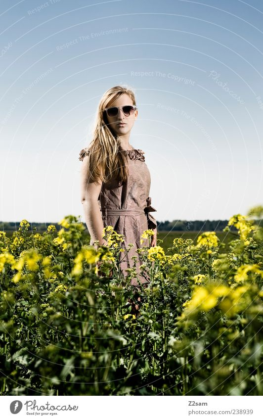 Human being Sky Nature Youth (Young adults) Beautiful Summer Flower Adults Relaxation Landscape Feminine Freedom Fashion Dream Blonde Young woman