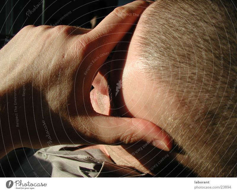 Man Hand Sun Relaxation Sleep Bald or shaved head