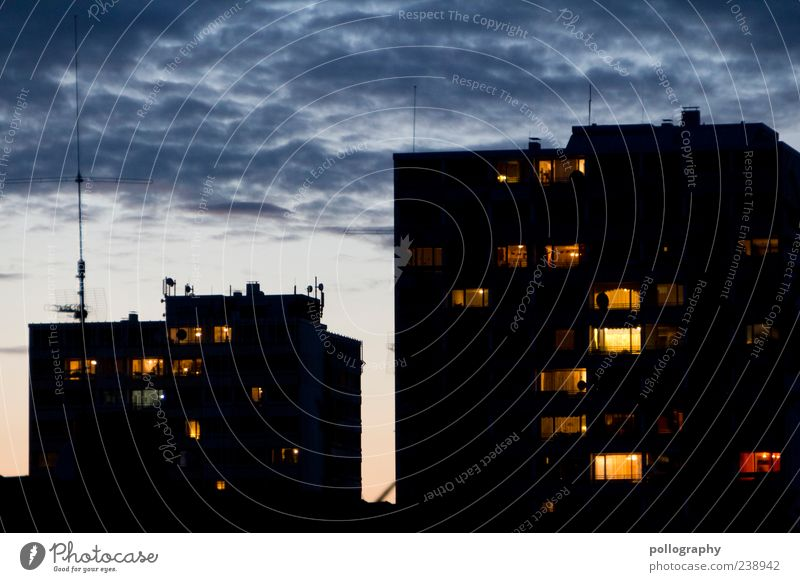 Blue Black House (Residential Structure) Yellow Window Building High-rise Living or residing Attachment Dusk Sharp-edged Apartment Building Sunset