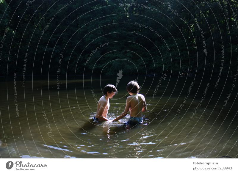 Human being Child Nature Youth (Young adults) Water Summer Calm Relaxation Boy (child) Freedom Happy Lake Friendship Moody Swimming & Bathing Together