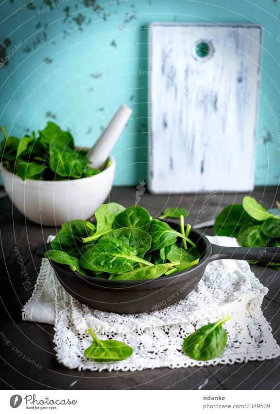 fresh green spinach leaves Vegetable Lettuce Salad Herbs and spices Nutrition Vegetarian diet Diet Plate Bowl Pan Table Nature Plant Leaf Wood Eating Fresh