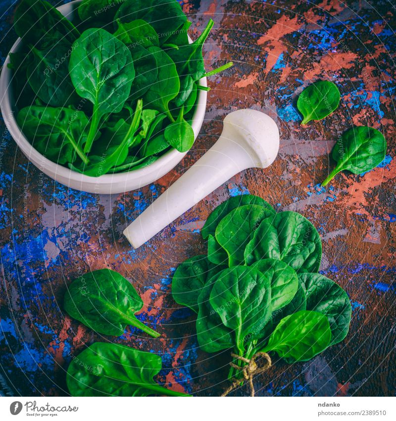 fresh green spinach leaves Vegetable Lettuce Salad Herbs and spices Nutrition Vegetarian diet Diet Plate Bowl Table Nature Plant Leaf Wood Fresh Natural Green