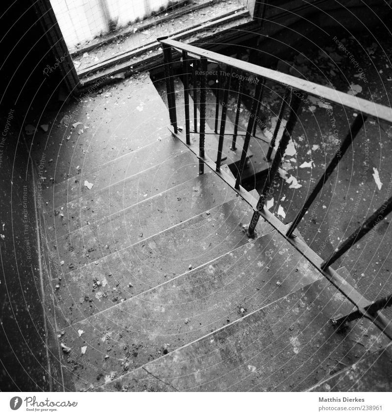 Leave Deserted Industrial plant Ruin Architecture Stairs Window Monument Stone Old Esthetic Sharp-edged Creepy Trashy Gloomy Derelict Banister Descent
