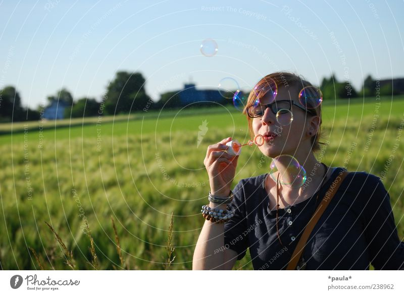 Human being Youth (Young adults) Blue Green Plant Summer Adults Landscape Movement Happy Head Dream Field Arm Young woman Natural