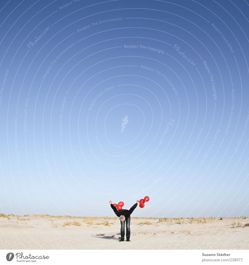 Red Beach Loneliness Adults Far-off places Playing Freedom Leisure and hobbies Masculine Balloon 45 - 60 years Dune Discover Ease Respect Cloudless sky