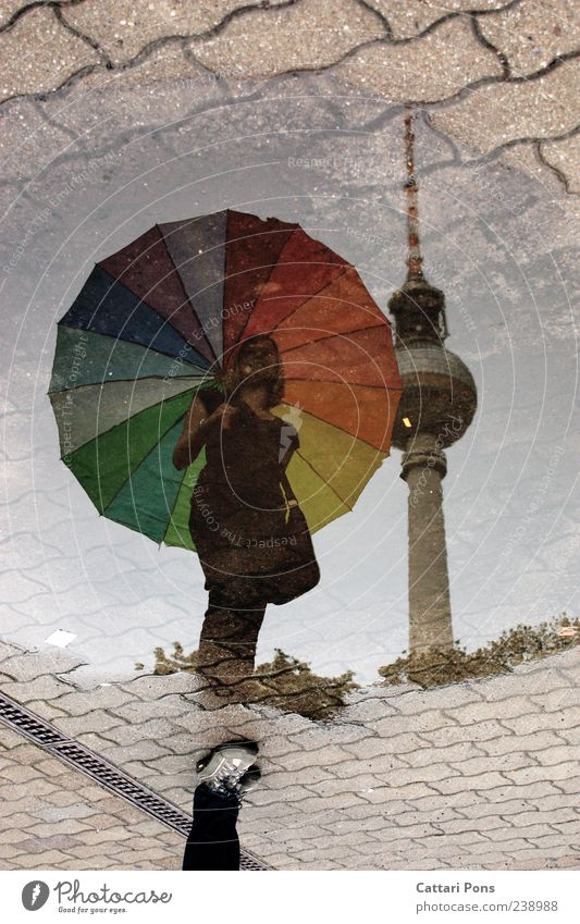 almost equal Feminine Young woman Youth (Young adults) Woman Adults Rain Capital city Tourist Attraction Stand Wet Thin Umbrella Multicoloured Puddle Reflection