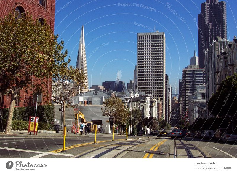 San Francisco Tram Railroad tracks High-rise North America Mixture Trans America Building house corner gorge of houses
