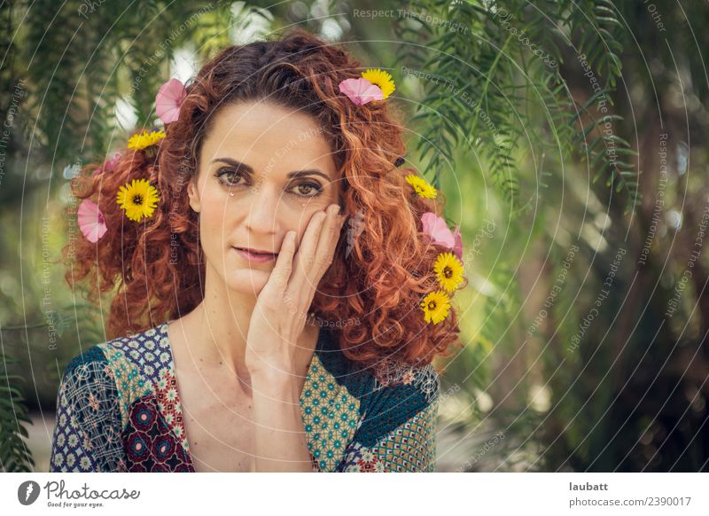 Flower time Alternative medicine Fairs & Carnivals Woman Adults Hair and hairstyles Environment Nature Spring Summer Wild plant Red-haired Curl Original