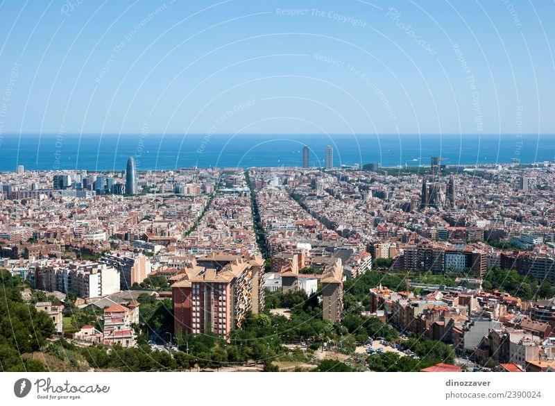Barcelona skyline Vacation & Travel Tourism Sightseeing Summer Ocean Business Landscape Sky High-rise Building Architecture Roof Street Bird Modern Blue urban